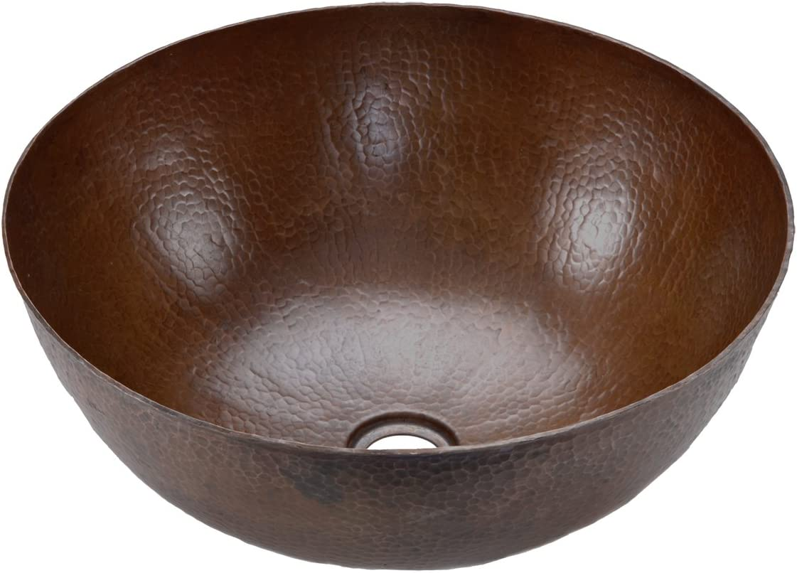 Premier Copper Products VR13BDB Small Round Vessel Hammered Copper Sink, Oil Rubbed Bronze
