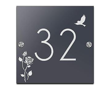 Placa para puerta Número de Casa con grabado en negro o antracita Cartel Varios.tamaños, Cristal acrílico, Anthrazit, Schwarz, 20x20 cm-M1