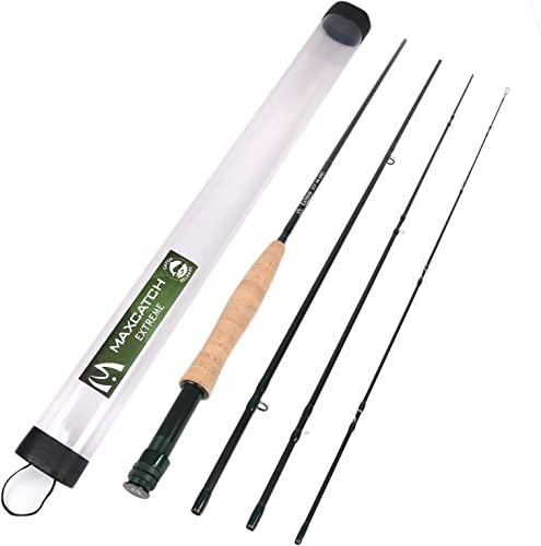 M MAXIMUMCATCH Maxcatch Extreme Graphite Fly Fishing Rod 4-Piece 9 Feet IM6 Carbon Blank, Hard Chromed Guides 3 4 5 6 7 8 10wt