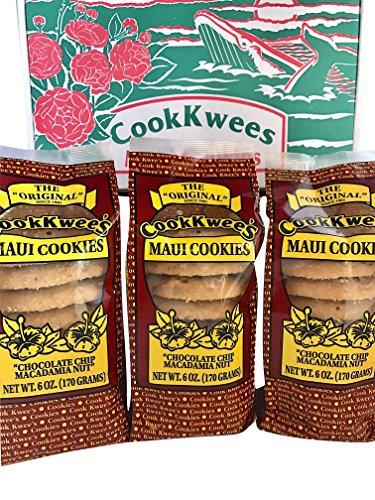 The Original Maui CookKwees Hawaii Cookies 3 Pack- 6 oz. Each (Chocolate Chip Macadamia Nut 3pk.)