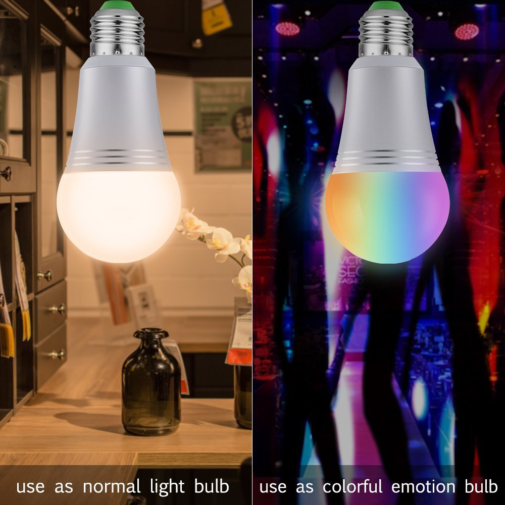 Smart Led Light Bulb, WiFi Smart Bulbs 6000K Dimmable Colored Smartphone Controlled Daylight White Night Light, No Hub Required, Works with Amazon Echo Alexa Google Home E27 A19 by Ausein (Image #5)