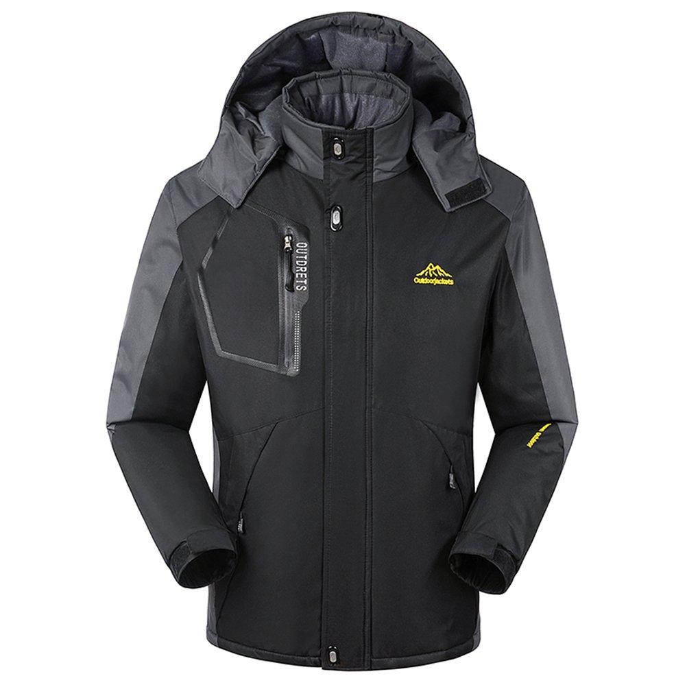 Magcomsen Men's Waterproof Mountain Fleece Jacket Windproof Ski Jacket Hooded ,Black-v2,US XL