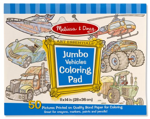 Coloring Pad (Melissa & Doug Jumbo Coloring Pad: Vehicles - 50 Pages of White Bond Paper (11 x 14 inches))