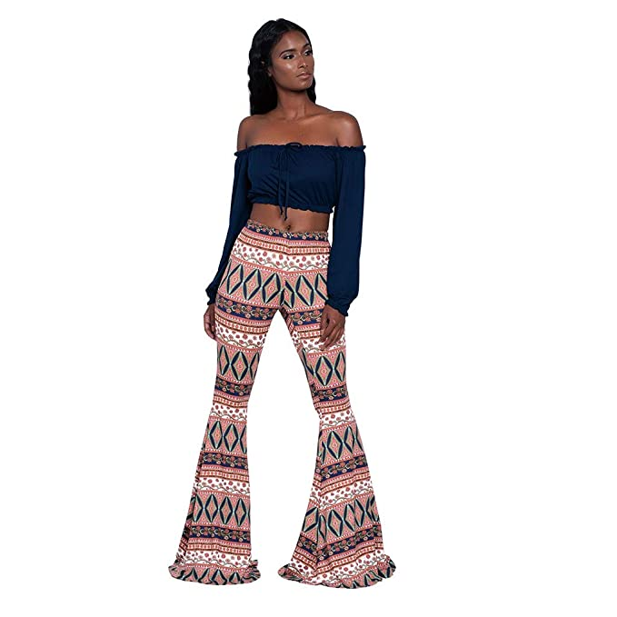 Pantalones de Mujer Verano SUNNSEAN Pants Estampado de Flores Cintura Alta Pantalones de Campana de Pantalones Largos Ocasionales Pantalones Anchos de ...