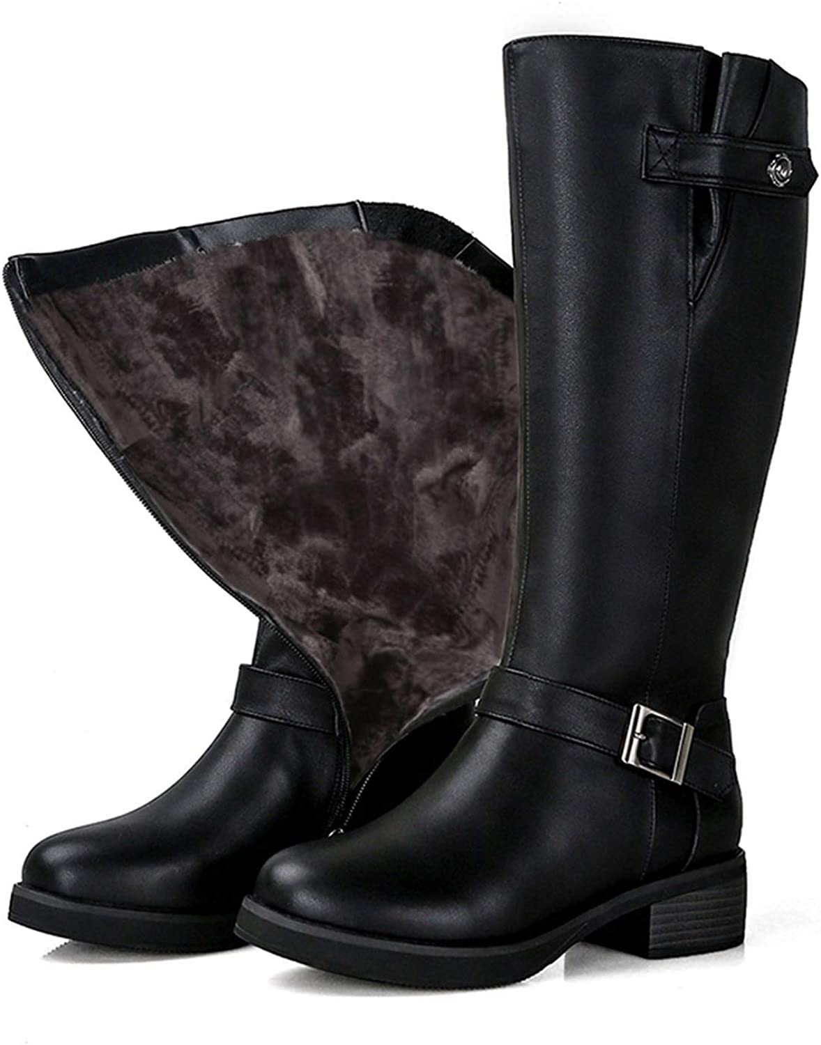 Genuine Leather Boots Shoes Natural Wool Warmful Plush Knee High Boots