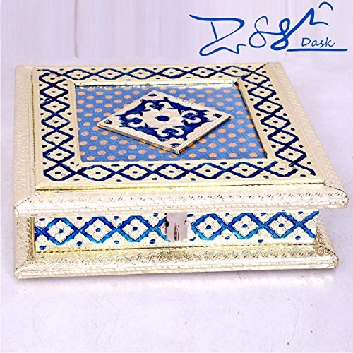 Valentine Day Special Present, Golden Dryfruit Box 8X8inch with Meenakari work at Top, Decprative Box, Wooden dry fruit box