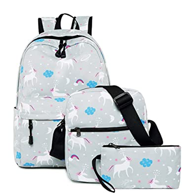 b0d5f035678 Water-Resistant Unicorn School Backpack for Teen Girls and Boys - 10-Piece  Gift