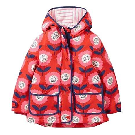 Niños Chubasquero para niña con capucha impermeable ...