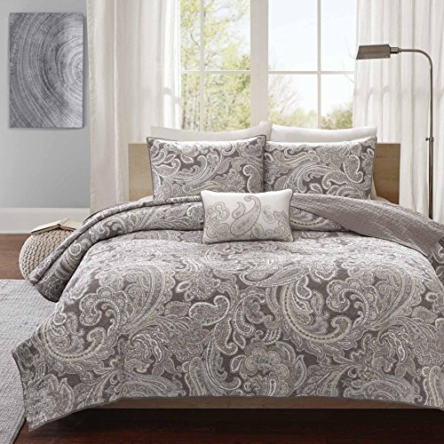 4 Piece Beautiful Charcoal Grey White King/Cal King Coverlet Set, Paisley Themed Bedding Shabby Chic Contemporary Classic French Country Cottage Pretty Stylish Taupe Trendy, Cotton by UKN