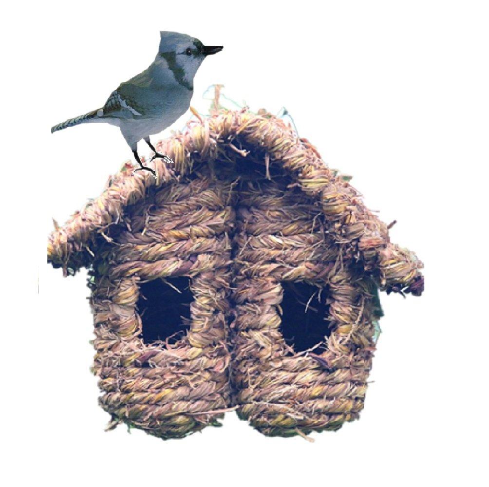 Grass Bird Hut,100% Natural Hand Woven Bird Hut,Outdoor Shelter for Birds