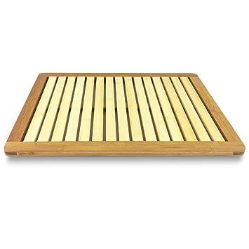 SereneLife Bamboo Bath Mat   Heavy Duty Natural Wood Bathroom Or Shower  Foot Floor Rug With