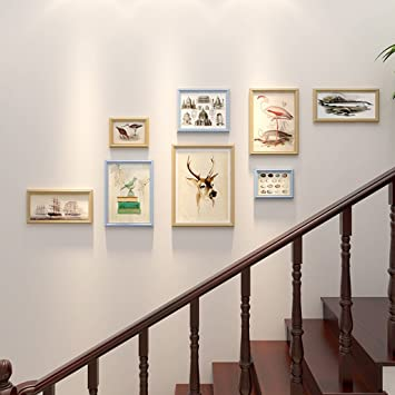 DWW Photo Frame Collage American Staircase Photo Wall Corridor Wood  Combination Photo Frame Creative Wall