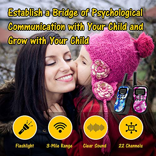 Veroyi Walkie Talkie for Kids, Boys and Girls, 22 Channels 2 Way Radio Toys with Backlit LCD Display and Flashlight for Indoor Outdoor Activity (2-Pack) by Veroyi (Image #3)