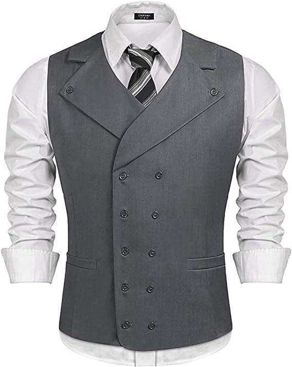 HSLS Mens Slim Fit Solid Color Double-Breasted Suit Vest V-Neck Waistcoat