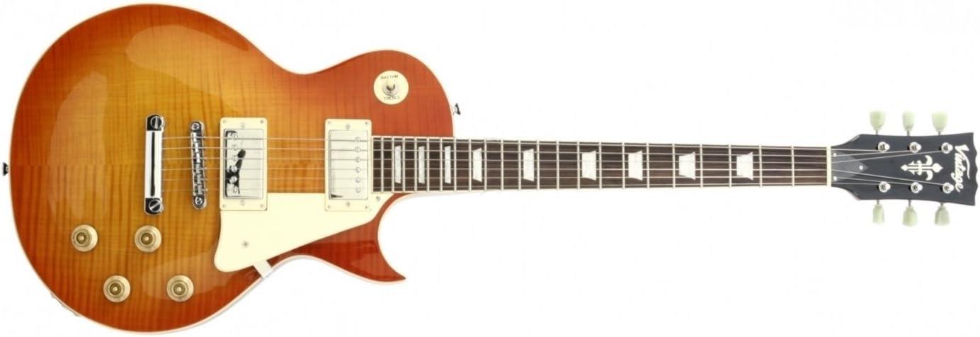 Vintage V100 Reissued Guitarra eléctrica (Flameado Honeyburst ...
