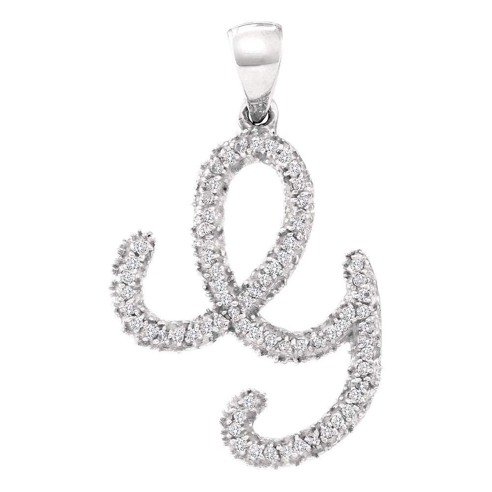 Diamond Letter G Pendant 10k White Gold Cursive Alphabet Charm Fashion Style Polished Fancy 1/6 Cttw by GemApex