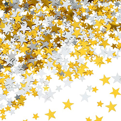 - 60 g Star Confetti Glitter Star Table Confetti Metallic Foil Stars for Party Wedding Festival Decorations (Gold Silver 60g, 10mm and 6mm)