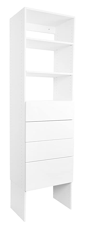 Modular Closets Shelf Tower System With Solid Wood Dovetail Drawers  (30u0026quot; Wide, ...