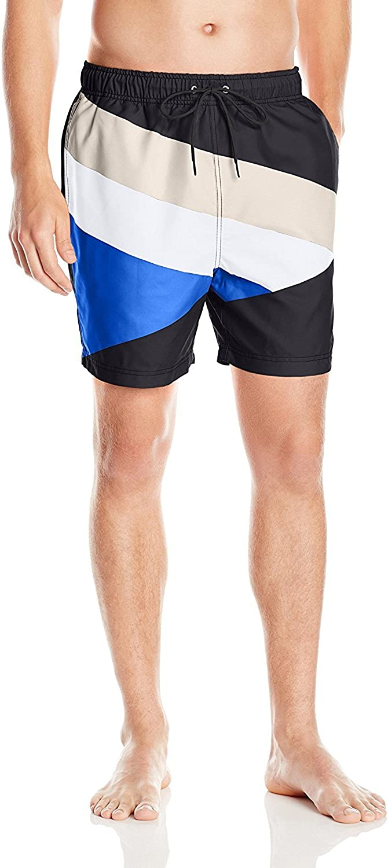 Nautica Men's Quick Dry Striped Color Block Swim Trunk