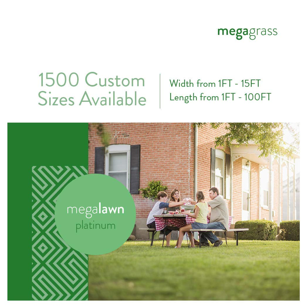 MEGAGRASS 1 x 1 Ft MegaLawn Platinum Artificial Grass for Lawn Landscaping and Pets Eco-Friendly Indoor and Outdoor Synthetic Fake Green Grass Turf Rug Mat