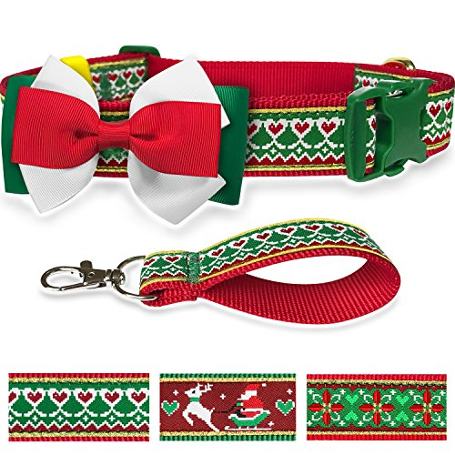 Pet Rejoir Creative Christmas Dog Collar with Removable Bow Tie- Spring Heart and Festive Trees Holiday Dog Collar- Neck 15~19