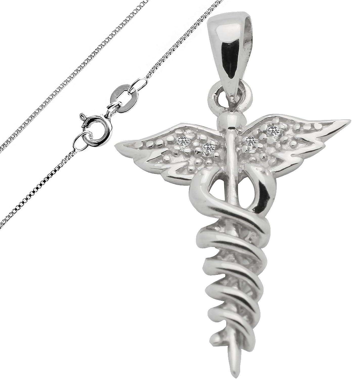 Caduceus Medical Sign Charm for Bracelet OR Necklace Sterling Silver plated