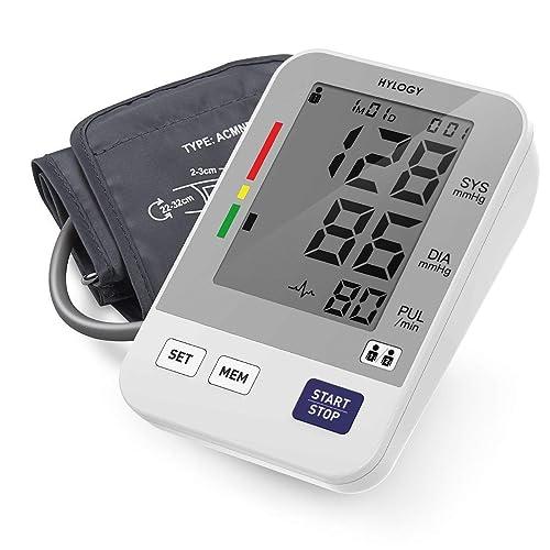 Tensiómetro de Brazo HYLOGY Tensiómetro de Brazo Digital 2 Memorias de Usuario 2 90 Escala de Colores de Semáforo de la OMS Validado Clínicamente Blanco