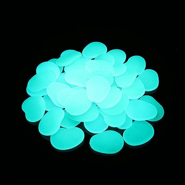 Glow in The Dark Pebbles for Garden Décor, Glow in The Dark Rocks for Fairy Garden, Glowing Stones Fish Tank Aquarium Gravel DIY Garden Gifts (Flake Shape, 44pcs,315g/11.11oz/0.69lb) (Blue Green)