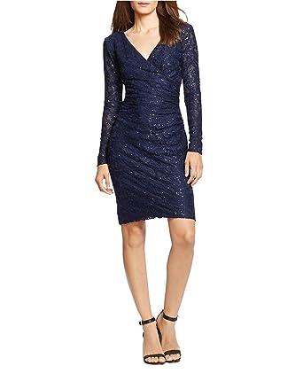 fece7c5f8 Image Unavailable. Image not available for. Color  Lauren Ralph Lauren  Women s Sequined Lace Surplice Sheath Dress ...