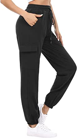 Women's Active Cinch Bottom Sweatpants High Waist Lightweight Loose Workout Yoga Running Jogger Lounge Pants