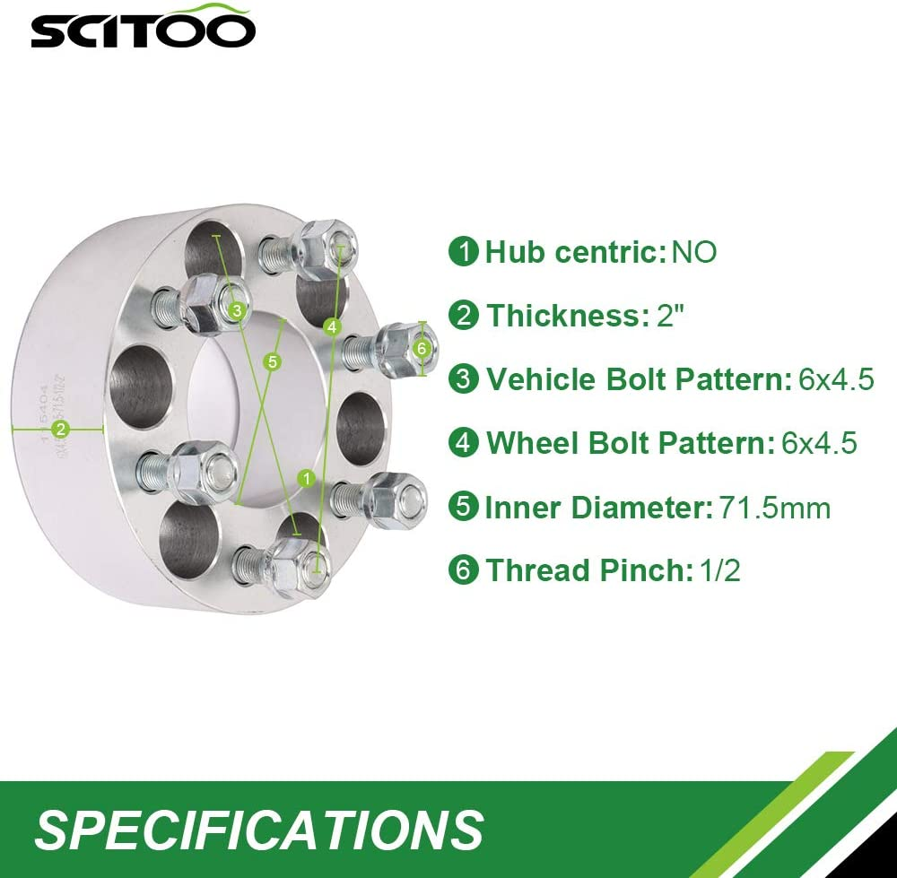 SCITOO 4X 2 INCH 50mm Wheel Spacers 6x4.5 to 6x4.5 or 6x114.3mm to 6x114.3mm fits for Dodge Dakota Durango Viper