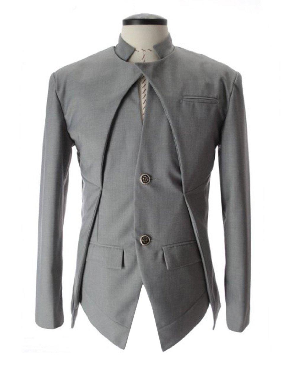 ?Men's Long Sleeve Stand-up Collar Asymmetric Suit Jacket Black L