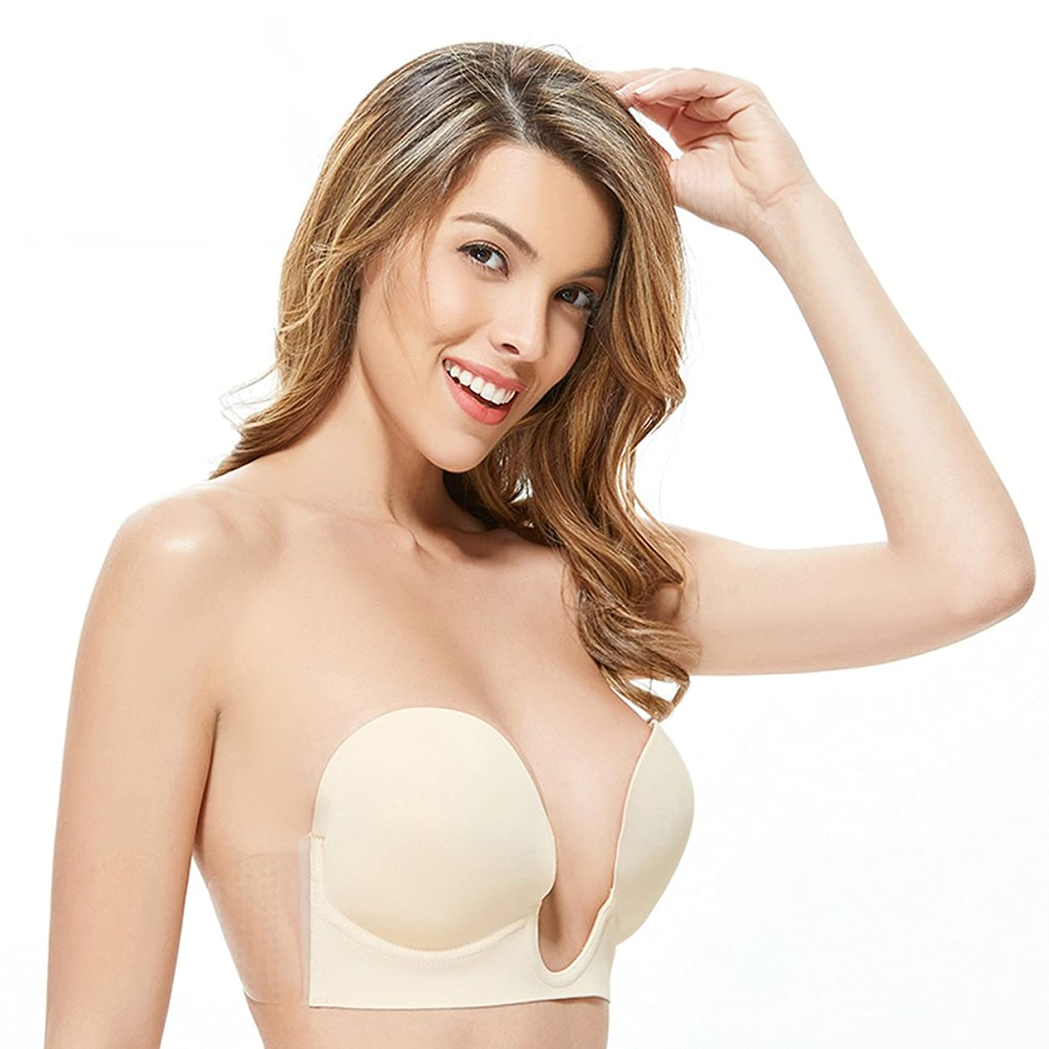 7a362410a55a Amazon.com  Gempack Deep U Plunge Invisible Push up Bra Sticky Strapless  Backless Bra for Women Comfortable Reusable Silicone Bra  Clothing