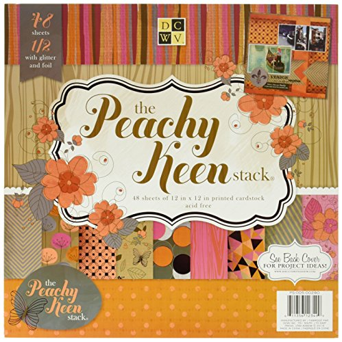 48-Sheet Premium Stack, 12-inches by 12-inches, Peachy Keen (Premium Cardstock Stack)