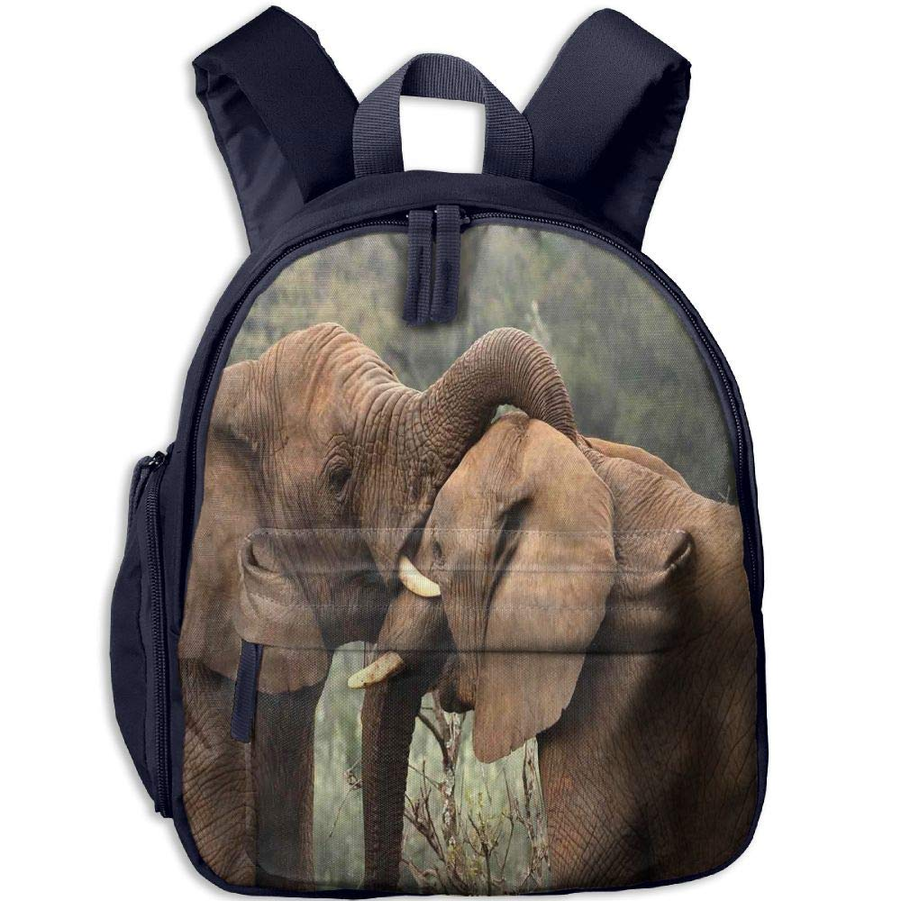Haixia Kid Boys&Girls Backpacks with Pocket Safari Decor Two Wild Savanna Elephants Wrestling Cute Nature Icons South African Animals Game Photo Full Brown Green
