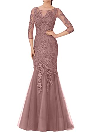 Wecharm Tuell Linie Lang A Elegant Spitze Abendkleider Damen Altrosa PiOkuXZ