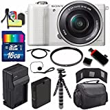 Sony Alpha a5000 Mirrorless Digital Camera with 16-50mm Lens (White) + Battery + Charger + 16GB Bundle 1 - International Version (No Warranty)