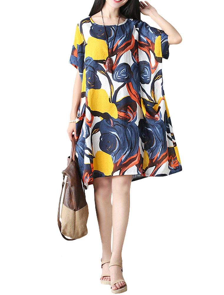 Mordenmiss Women's Summer Short Sleeve Abstract Printing Dress XL Style 3-Blue