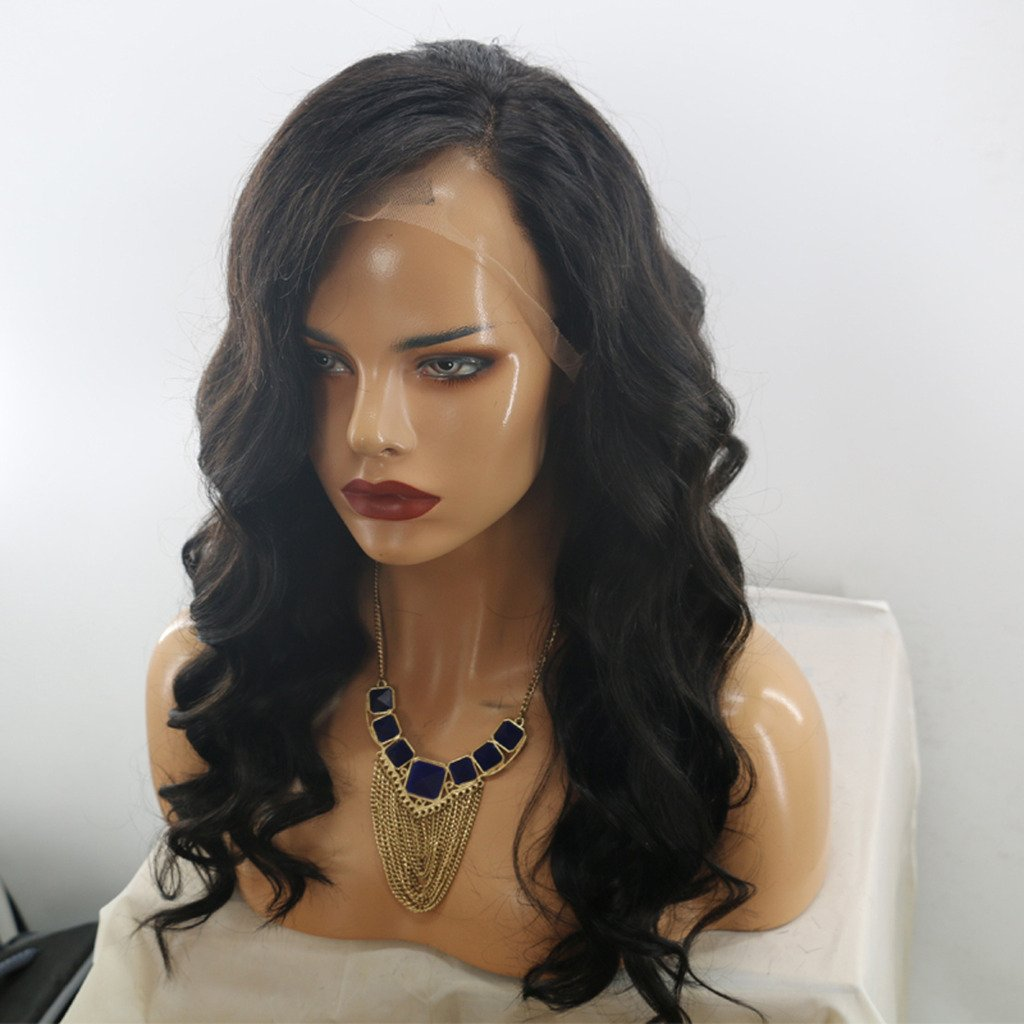 MeiRun Black Human Hair Wigs Silk Top Wigs Body Wave Virgin Lace Front Wigs Silk Base Full Lace Wigs Natural Black(16 inch)