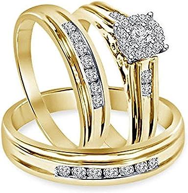 Bride /& Groom Trio Ring Engagement Wedding Set Round Diamond 14K Yellow Gold Fn