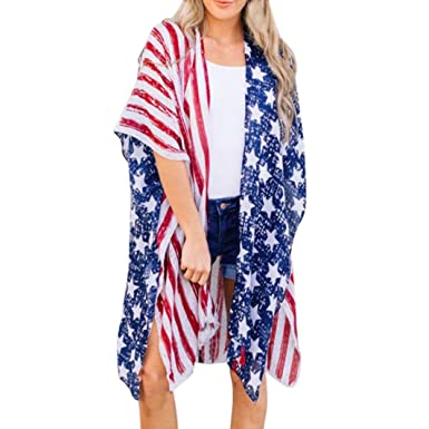 85982888774e2 Blouse for Women, Fashion American Flag Printed Beach Casual Loose  Patriotic Shawl Kimono Cardigan Cover
