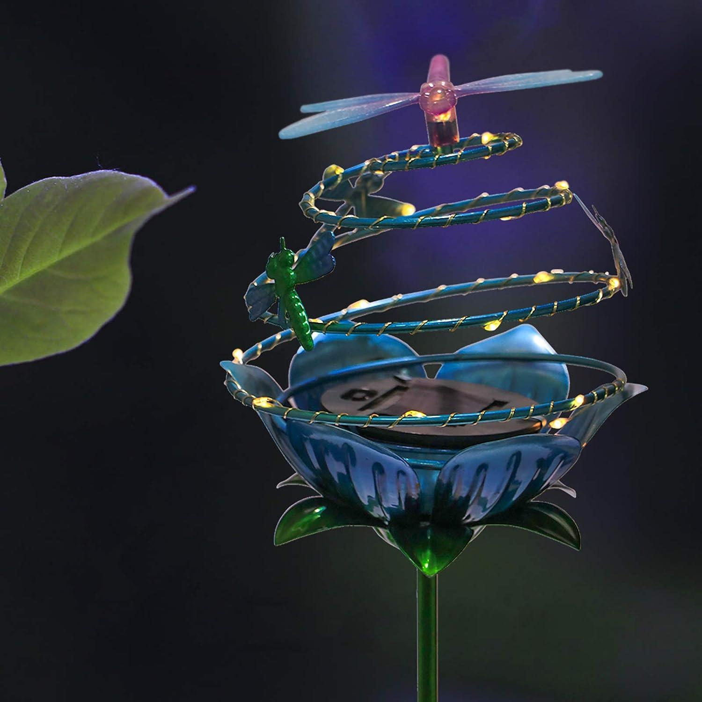 Solar Lights Outdoor Decorative Dragonfly Waterproof Garden Decor Light for Courtyard, Patio, Pathway Blue