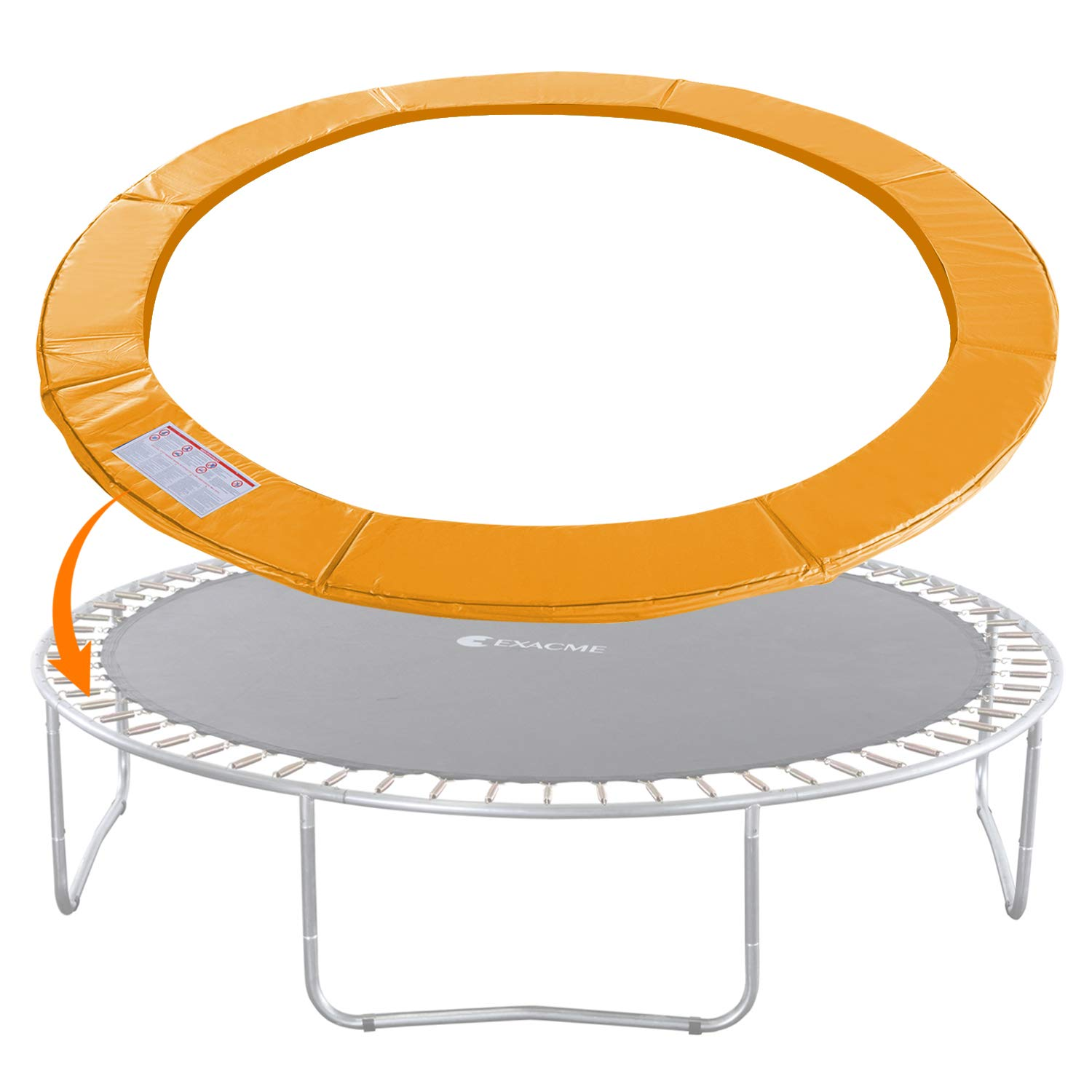 Exacme Trampoline Replacement Safety Pad Round Spring Cover, No Slots (Orange, 15 Foot) by Exacme