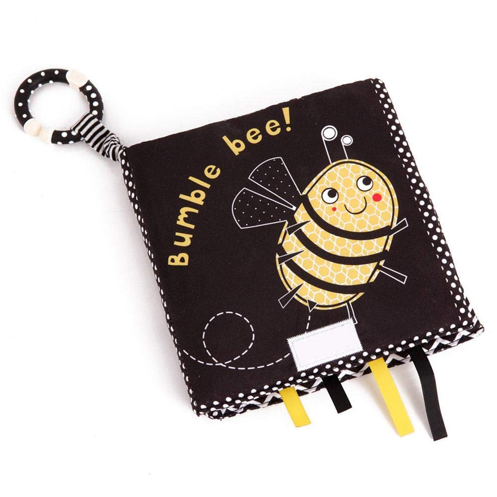 Cloth Book, Infant Cloth Book, Eco-Friendly Durable Tear Resistant Washable for Kids(Black, Yellow bee)