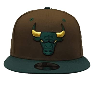 quality design 8f0fe e445a Image Unavailable. Image not available for. Color  New Era NBA Chicago Bulls  2Tone Brown   Green 9FIFTY Snapback Hat