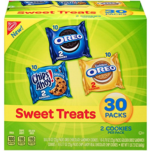 (Nabisco Cookies Sweet Treats Variety Pack Cookies - with Oreo, Chips Ahoy, & Golden Oreo - 30 Snack)
