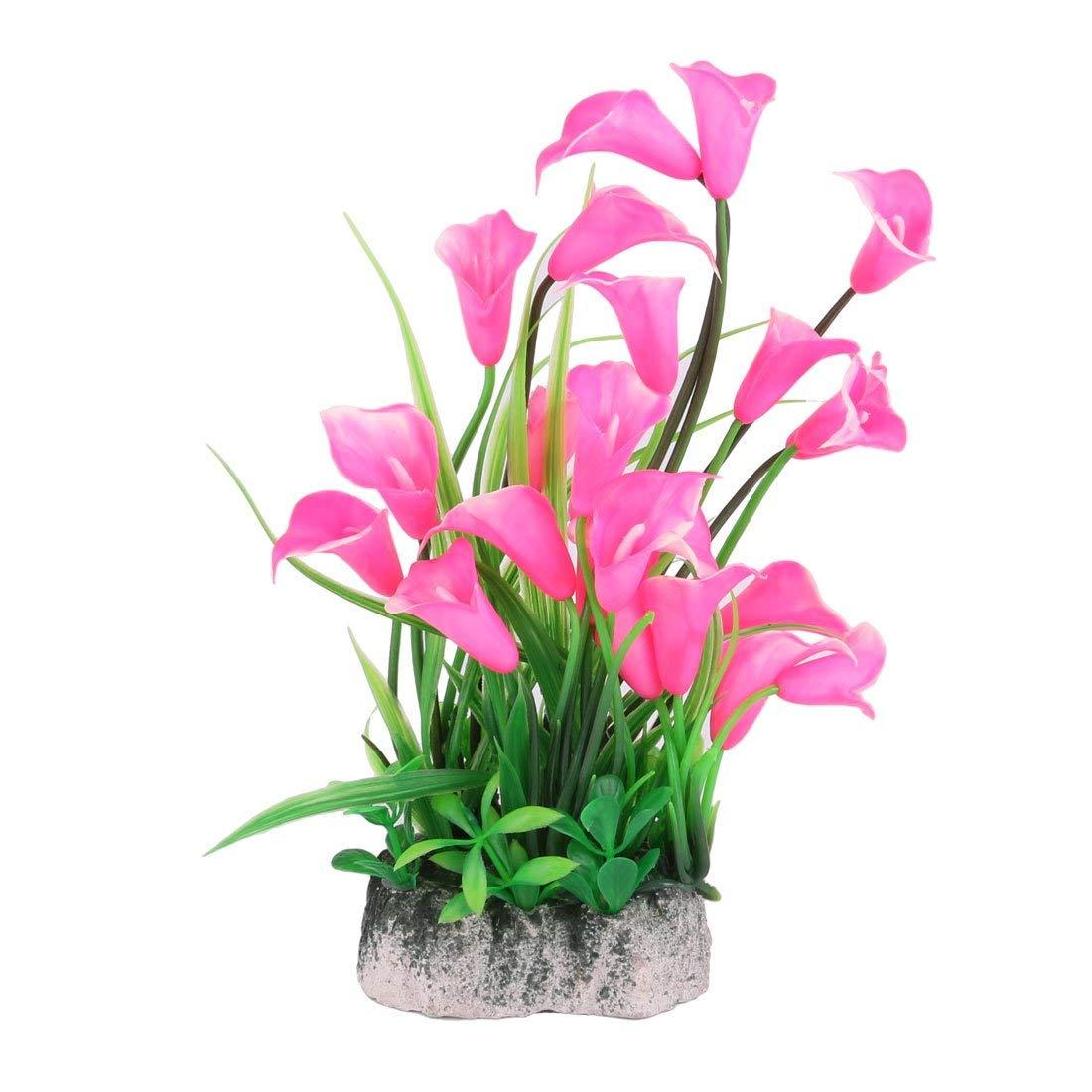 Fish Tank Artificial Flower Bouquet Ornament Aquarium Plant 2 Pcs Pink Green