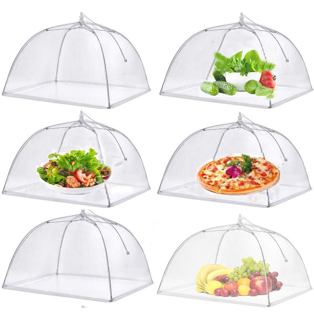 Pop-Up Mesh Food Covers Tent Umbrella For Outdoors Parties Picnics 17 x 17 Inches(6 Pcs) Food Protector Net Screen Tents Keep Out Flies Wasp Bugs Mosquitoes