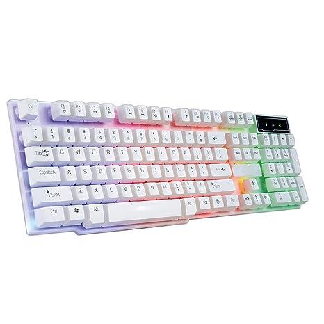 STRIR Teclado para Juegos, Mecánica Feel Gaming Keyboard, USB LED Retroiluminada con Conexión de