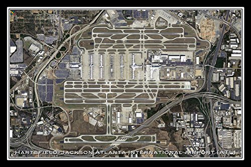 Hartsfield-Jackson Atlanta Intl Airport Georgia Satellite Poster Map L 24 x 36 inch